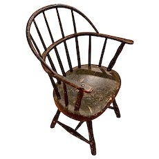 Rare Miniature/Child's Size Antique 19th C. Bow-Back Windsor Armchair.