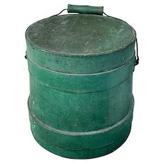 """Very Nice Small """"top of the stack"""" 6-1/2""""H. Firkin/Applesauce Bucket in Old Green Paint!"""