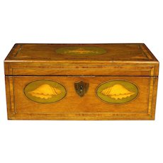 A Fine George III Inlaid Mahogany Tea Caddy Converted to a Letter Box, English Circa 1810