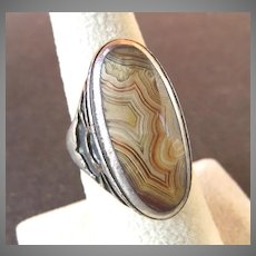 Arts & Crafts Style Banded Agate Sterling Silver Ring
