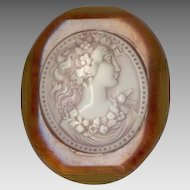 Applejuice Bakelite & Celluloid Art Nouveau Style Cameo Pin