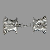 "Fancy Sterling Silver ""Four Grasping Hands"" Coat / Cloak Clasp"