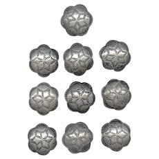 "Set of 10 Native American STERLING Buttons 1"" Diameter"