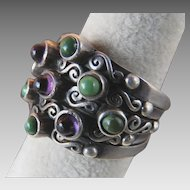 Carmen Beckmann Mexico 5 Band Hinged Silver Ring with Purple & Green Cabochons