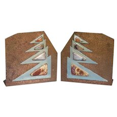 Hand Hammered Copper ARTS & CRAFTS Bookends with Agate Embellishments