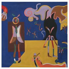 Colorful MODERNIST Painting in the Style of MIRO
