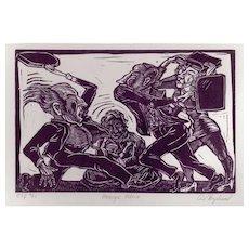 """ART HAZELWOOD Signed Original Linoprint Entitled """"MERGER MANIA"""""""