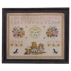 Beautifully Executed Framed Sampler On Linen 1933