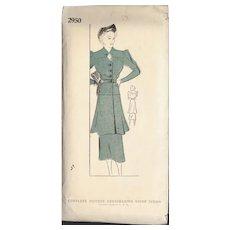 Stylish 1930's Era Long Tunic & Skirt Sewing Pattern