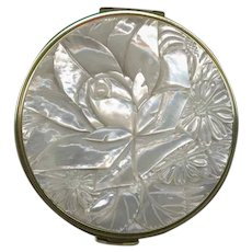 EXQUISITE Deeply Carved Mother of Pearl Compact