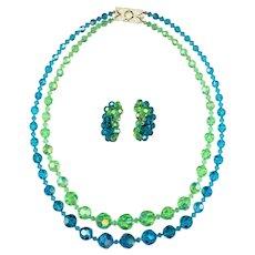 Blue & Green Aurora Borealis Crystals Necklace & Earrings Set