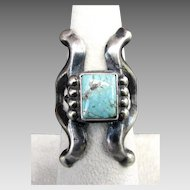Harrison Bitsue NAVAJO Turquoise & Sterling Silver Ring