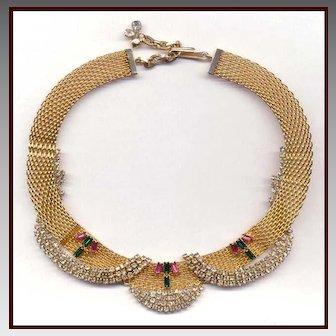 Elegant HOBE Gold Tone Mesh Choker Necklace Embellished With Rhinestones
