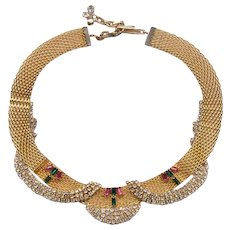 Elegant HOBE Gold Tone Mesh Choker Necklace Embellished With Rhinestones