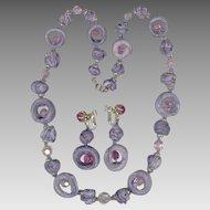 Fun Vendome Necklace & Earrings Set, Handmade Purple/Lavender Beads, Pink Crystals
