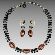 Trifari Black Glass, Art Glass Necklace & Earring Set