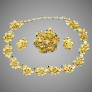 Ornate CORO Parure: Necklace, Pin / Brooch, and Earrings