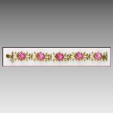 Vermeil Sterling Silver Bracelet With Square Cut Pink Rhinestones