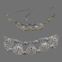 Exquisite Early Filigree Silver Marcasite Necklace