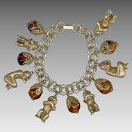 Fabulous Rare Florenza See No Evil, Hear No Evil, Speak No Evil Monkey Charm Bracelet