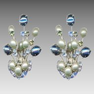 HATTIE CARNEGIE Rhinestone / Cabochon Earrings