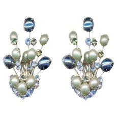 HATTIE CARNEGIE Rhinestone / Cabochon Earrings