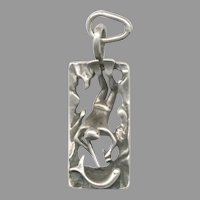 Too Cool 3 Dimensional Sterling Silver Spear Fisherman Pendant