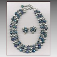 Hattie Carnegie Carnival Glass & Faux Pearl Necklace & Earrings Set