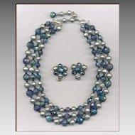 Hattie Carnegie Carnival Glass & Faux Pearl Necklace & Earrings Set