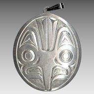 North West Coast Signed Gordon Cross Handcarved Silver Pendant