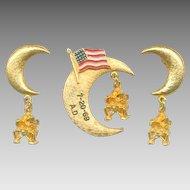Historic Commemorative APOLLO 11 Moon Landing Pin & Earring Set