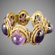 HUGE Purple Cabochon Bracelet Ornate Setting