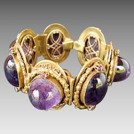 HUGE Purple Cabochon Bracelet Ornate Setting
