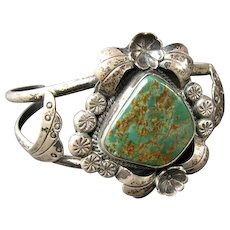 Signed NATIVE AMERICAN Sterling Silver & Turquoise Cuff Bracelet