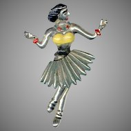 Unique Older Pot Metal Hula Dancer Trembler Pin