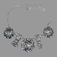 Renaissance Style Gray Pearlized Cabochon & Rhinestone Necklace