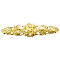Lovely MIRIAM HASKELL Gold Tone & Faux Pearl Bar Pin