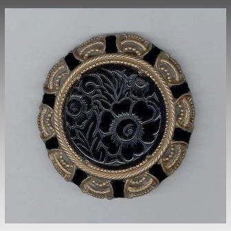 Bold Art Deco Molded Glass & Pot Metal Pin