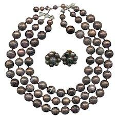 HUGE Luminescent MARVELLA Multi-Strand Bib Necklace & Earrings Set