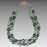 MARVELLA 2 Strand Chunky Green Bead Necklace
