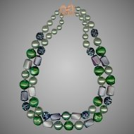MARVELLA 2 Strand Chunky Green Bead Necklace