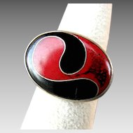 Artisan Signed Sterling Silver Modernist Style Red & Black Enameled Ring