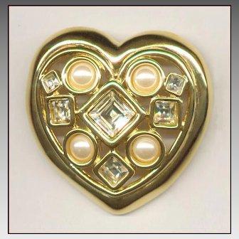 GIVENCHY Heart Pin Faux Pearls & Rhinestones