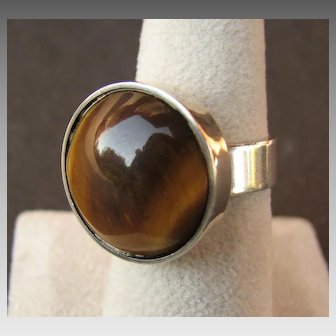 Modernist Handmade Denmark Sterling Silver & Tigers Eye Cabochon Ring