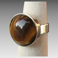 Modernist Handmade Denmark Sterling Silver & Tigers Eye Cabochon Ring