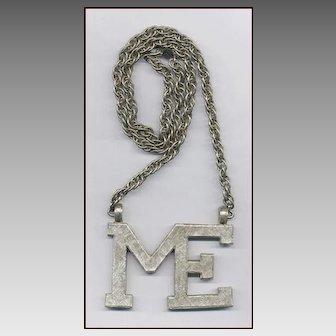 "Huge ACCESSOCRAFT Silver Tone ""ME"" Pendant Necklace"