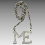 "Huge ACCESSOCRAFT Silver Tone ""ME"" Pendant Necklace"