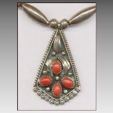 Native American Silver & Coral Pendant Signed C. DAVIS