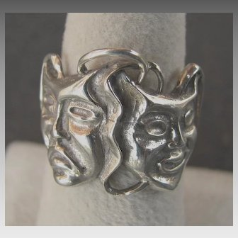 Sterling Silver Comedy Tragedy Masks Ring