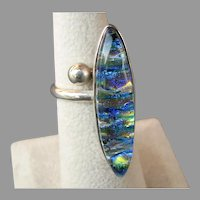 Mesmerizing Huge Iridescent Art Glass Cabochon Sterling Silver Ring
